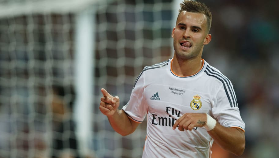 MADRID, SPAIN - AUGUST 22:  Jese Rodriguez of Real Madrid CF celebrates scoring the team's fifth goal during the Santiago Bernabeu Trophy match between Real Madrid CF and Al-Sadd at Estadio Santiago Bernabeu on August 22, 2013 in Madrid, Spain.  (Photo by Gonzalo Arroyo Moreno/Getty Images)