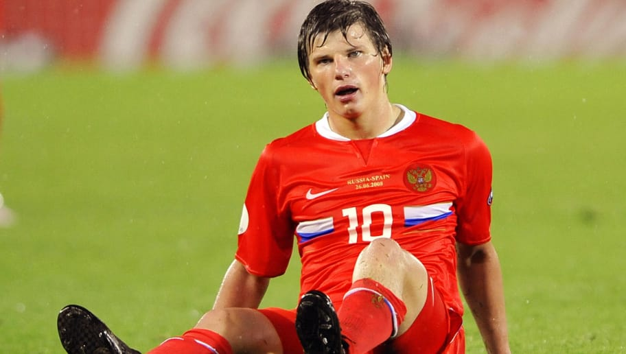 Russian forward Andrei Arshavin reacts on the pitch at the end of the Euro 2008 championships semi-final football match Russia vs. Spain on June 26, 2008 at Ernst-Happel stadium in Vienna, Austria. Spain one of the pre-tournament title favourites ensured they made their first final for 24 years when they demolished Russia 3-0 here on Thursday in their Euro 2008 semi-final. AFP PHOTO / FRANCK FIFE -- MOBILE SERVICES OUT -- (Photo credit should read FRANCK FIFE/AFP/Getty Images)