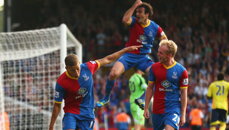 LONDON, ENGLAND - AUGUST 31:  Dwight Gayle (L) of Crystal Palace celebrates scoring his penalty during the Barclays Premier League match between Crystal Palace and Sunderland at Selhurst Park on August 31, 2013 in London, England.  (Photo by Paul Gilham/Getty Images)