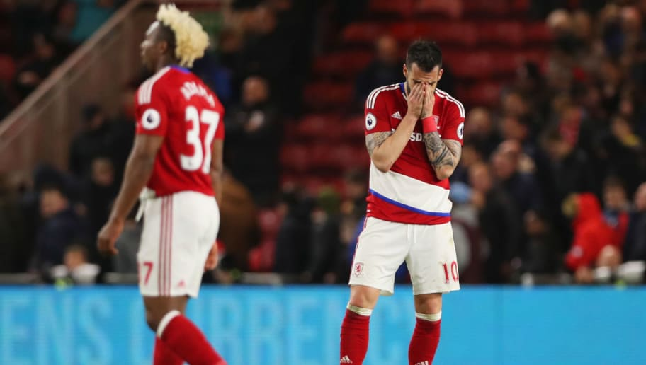MIDDLESBROUGH, ENGLAND - APRIL 17: Alvaro Negredo of Middlesbrough (R) and team mate Adama Traore look dejected in defeat after during the Premier League match between Middlesbrough and Arsenal at Riverside Stadium on April 17, 2017 in Middlesbrough, England.  (Photo by Ian MacNicol/Getty Images)