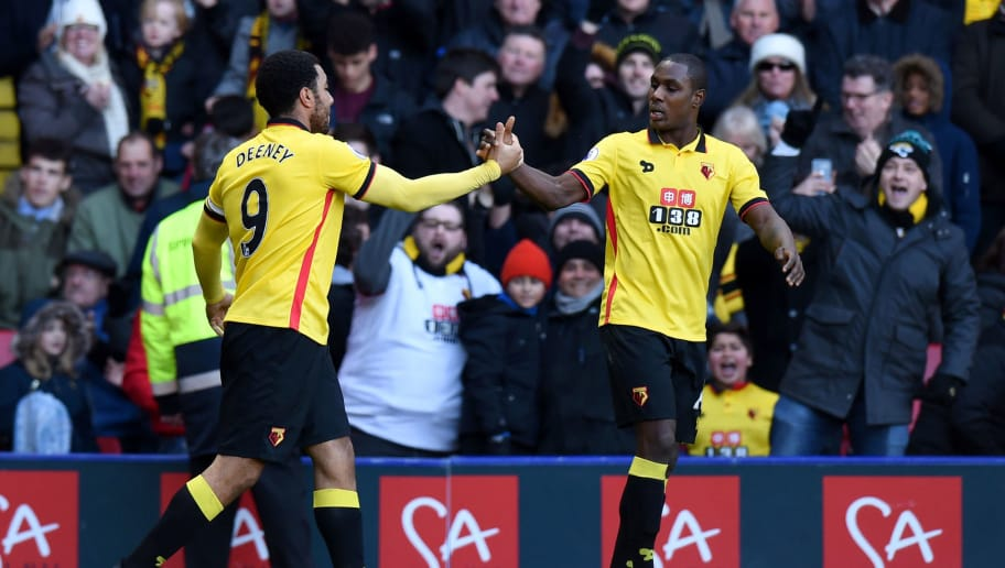 WATFORD, ENGLAND - DECEMBER 26:  Troy Deeney of Watford celebrates with team-mate Odion Ighalo after scoring his team's first goal during the Premier League match between Watford and Crystal Palace at Vicarage Road on December 26, 2016 in Watford, England.  (Photo by Tony Marshall/Getty Images)