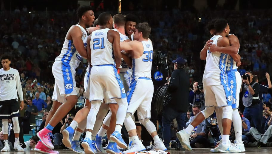 GLENDALE, AZ - APRIL 03:  The North Carolina Tar Heels celebrate after defeating the Gonzaga Bulldogs during the 2017 NCAA Men's Final Four National Championship game at University of Phoenix Stadium on April 3, 2017 in Glendale, Arizona. The Tar Heels defeated the Bulldogs 71-65.  (Photo by Tom Pennington/Getty Images)