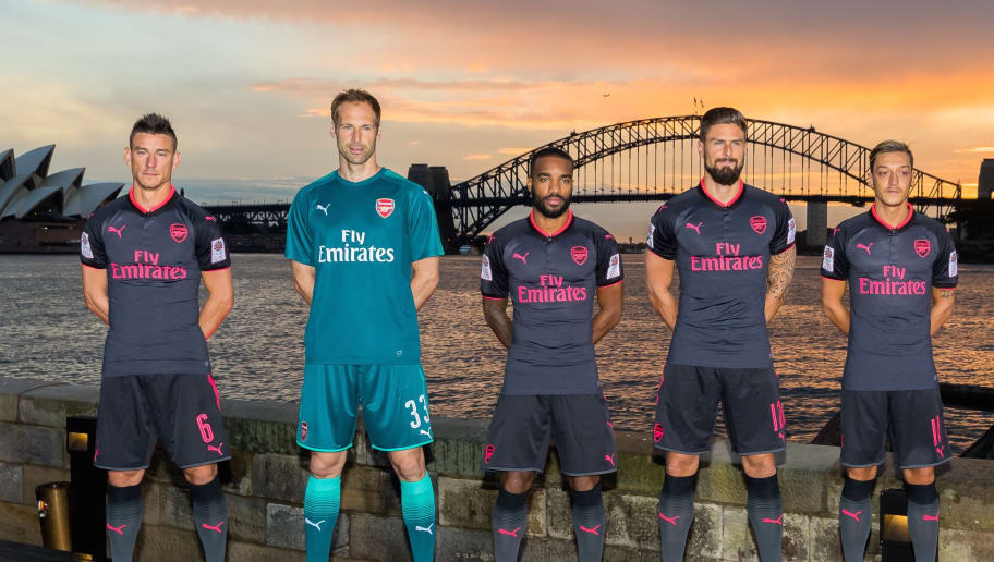 710ec8b42f1 PHOTOS: Arsenal Fans Given Fresh Hope Over Sanchez Stay as Talisman Helps  Launch Club's New 3rd Kit