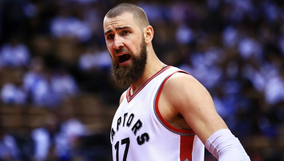 TORONTO, ON - MAY 05:  Jonas Valanciunas #17 of the Toronto Raptors shouts to an official in the second half of Game Three of the Eastern Conference Semifinals against the Cleveland Cavaliers during the 2017 NBA Playoffs at Air Canada Centre on May 5, 2017 in Toronto, Canada.  NOTE TO USER: User expressly acknowledges and agrees that, by downloading and or using this photograph, User is consenting to the terms and conditions of the Getty Images License Agreement.  (Photo by Vaughn Ridley/Getty Images)