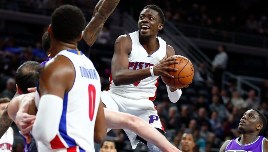 AUBURN HILLS, MI - JANUARY 23: Reggie Jackson #1 of the Detroit Pistons tries to get off a shot while playing the Sacramento Kings during the first half at the Palace of Auburn Hills on January 23, 2017 in Auburn Hills, Michigan. NOTE TO USER: User expressly acknowledges and agrees that, by downloading and or using this photograph, User is consenting to the terms and conditions of the Getty Images License Agreement.  (Photo by Gregory Shamus/Getty Images)