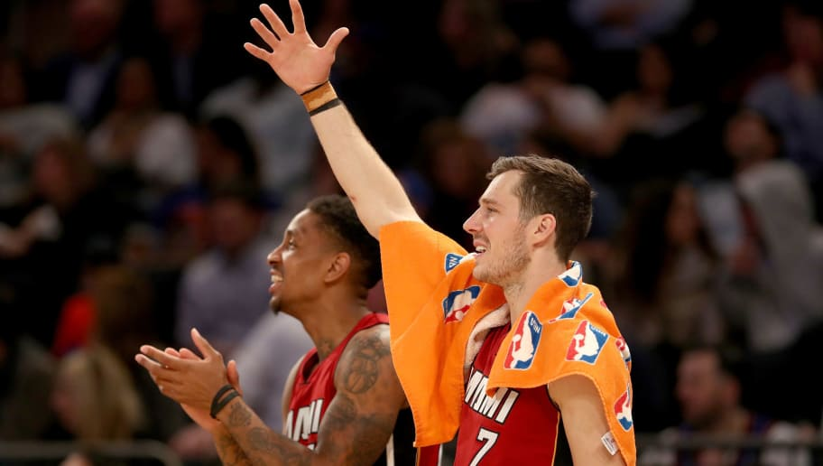 NEW YORK, NY - MARCH 29:  Josh Richardson #0 and Goran Dragic #7 of the Miami Heat celebrate in the fourth quarter against the New York Knicks at Madison Square Garden on March 29, 2017 in New York City. NOTE TO USER: User expressly acknowledges and agrees that, by downloading and or using this Photograph, user is consenting to the terms and conditions of the Getty Images License Agreement  (Photo by Elsa/Getty Images)