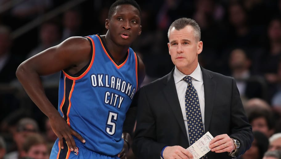 NEW YORK, NY - NOVEMBER 28:  Victor Oladipo #5 and head coach Billy Donovan of the Oklahoma City Thunder look on against the New York Knicks during the second half at Madison Square Garden on November 28, 2016 in New York City. NOTE TO USER: User expressly acknowledges and agrees that, by downloading and or using this photograph, User is consenting to the terms and conditions of the Getty Images License Agreement.  (Photo by Michael Reaves/Getty Images)