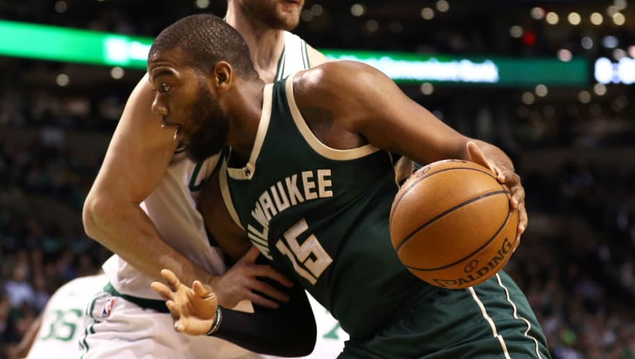 BOSTON, MA - MARCH 29: Greg Monroe #15 of the Milwaukee Bucks drives against Tyler Zeller #44 of the Boston Celtics during the first quarter at TD Garden on March 29, 2017 in Boston, Massachusetts. NOTE TO USER: User expressly acknowledges and agrees that by downloading and or using this photograph, User is consenting to the terms and conditions of the Getty Images License Agreement. (Photo by Maddie Meyer/Getty Images)