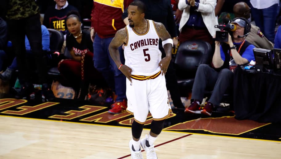 CLEVELAND, OH - JUNE 07:  JR Smith #5 of the Cleveland Cavaliers reacts after a basket in the second half against the Golden State Warriors in Game 3 of the 2017 NBA Finals at Quicken Loans Arena on June 7, 2017 in Cleveland, Ohio. NOTE TO USER: User expressly acknowledges and agrees that, by downloading and or using this photograph, User is consenting to the terms and conditions of the Getty Images License Agreement.  (Photo by Gregory Shamus/Getty Images)