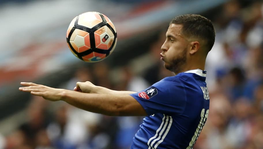 Chelsea's Belgian midfielder Eden Hazard controls the ball during the English FA Cup final football match between Arsenal and Chelsea at Wembley stadium in London on May 27, 2017. / AFP PHOTO / Ian KINGTON / NOT FOR MARKETING OR ADVERTISING USE / RESTRICTED TO EDITORIAL USE        (Photo credit should read IAN KINGTON/AFP/Getty Images)