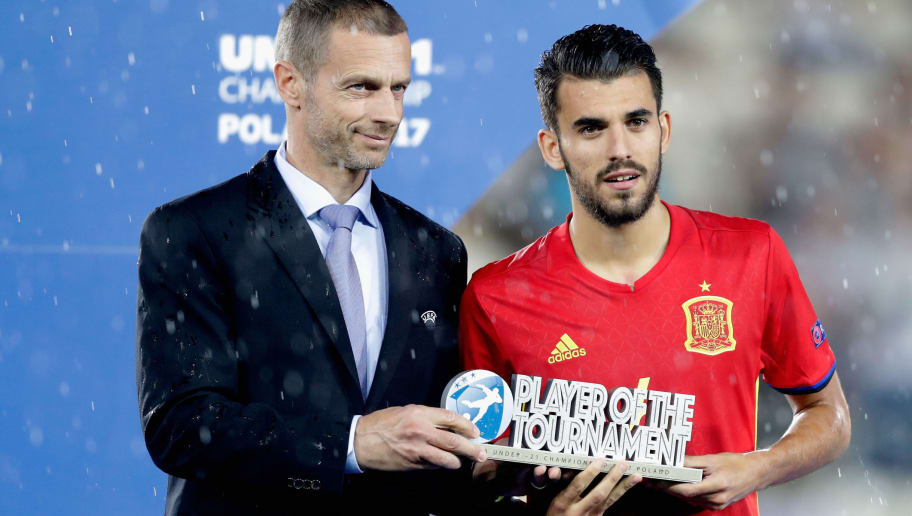 KRAKOW, POLAND - JUNE 30: Dani Ceballos of Spain is awarded the Player of the Tournament by Aleksander Ceferin, UEFA president during the UEFA European Under-21 Championship Final between Germany and Spain at Krakow Stadium on June 30, 2017 in Krakow, Poland.  (Photo by Nils Petter Nilsson/Ombrello/Getty Images)