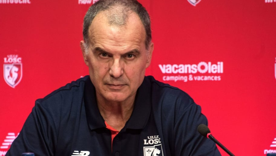 Argentinian Marcelo Bielsa, the new coach for Lille OSC holds a press conference at the LOSC training center in  Camphin-en-Pevele near the city of Lille on May 23, 2017.   The former Argentina and Chile coach is respected in France for his work at Marseille during the 2014-15 season when his side played well in the French Ligue 1. / AFP PHOTO / DENIS CHARLET        (Photo credit should read DENIS CHARLET/AFP/Getty Images)