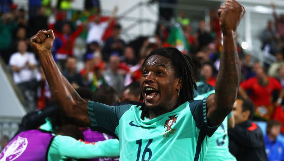 LENS, FRANCE - JUNE 25:  Renato Sanches of Portugal celebrates his team's first goal during the UEFA EURO 2016 round of 16 match between Croatia and Portugal at Stade Bollaert-Delelis on June 25, 2016 in Lens, France.  (Photo by Clive Mason/Getty Images)