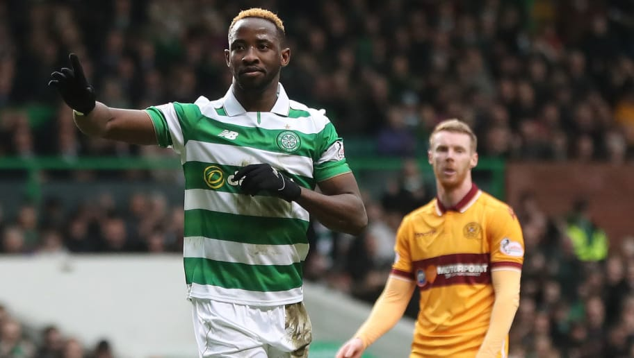 GLASGOW, SCOTLAND - FEBRUARY 18: Moussa Dembele of Celtic  celebrates after he scores the opening goal from the penalty spot during the Ladbrokes Scottish Premiership match between Celtic and  Motherwell at Celtic Park on February 18, 2017 in Glasgow, Scotland. (Photo by Ian MacNicol/Getty Images)