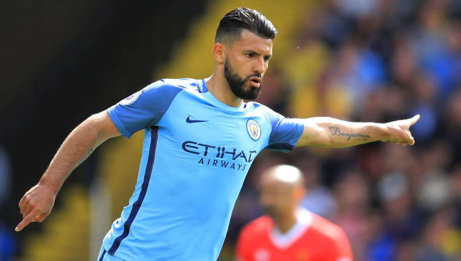 WATFORD, ENGLAND - MAY 21:  Sergio Aguero of Manchester City celebrates scoring his sides second goal during the Premier League match between Watford and Manchester City at Vicarage Road on May 21, 2017 in Watford, England.  (Photo by Richard Heathcote/Getty Images)