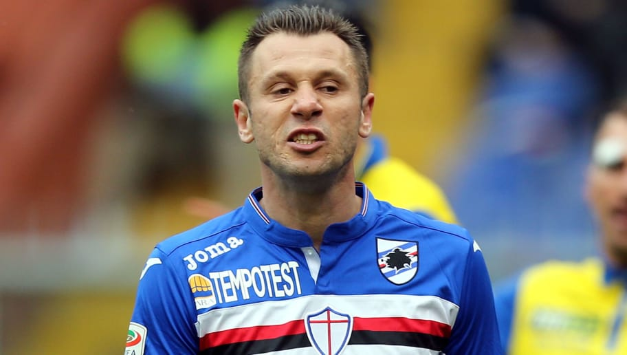 GENOA, ITALY - MARCH 20: Antonio Cassano of UC Sampdoria reacts during the Serie A match between UC Sampdoria and AC Chievo Verona at Stadio Luigi Ferraris on March 20, 2016 in Genoa, Italy.  (Photo by Gabriele Maltinti/Getty Images)
