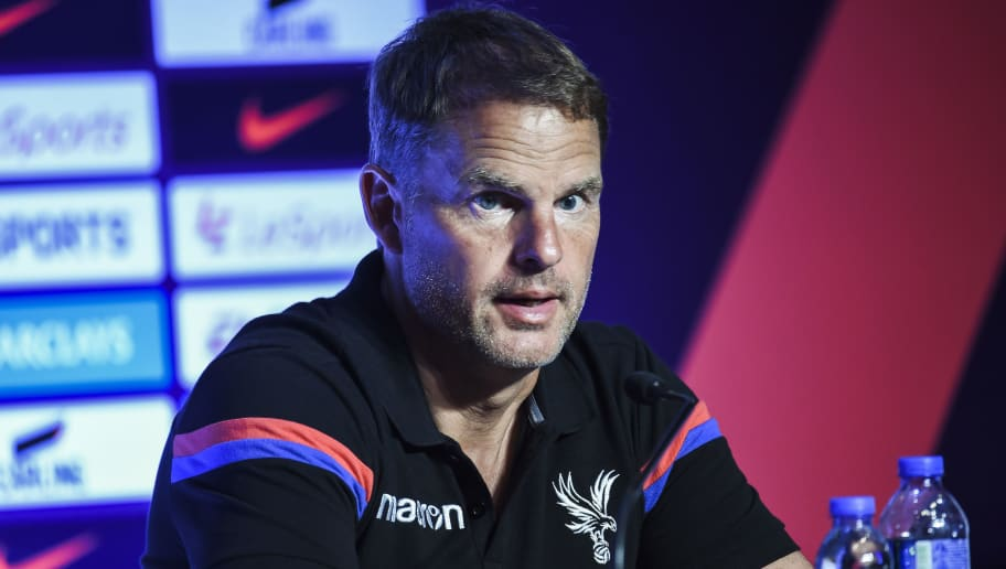 Crystal Palace Football Club manager Frank de Boer speaks at a press conference in Hong Kong on July 18, 2017, ahead of the 2017 Premier League Asia Trophy being played on July 19 and 22. / AFP PHOTO / ISAAC LAWRENCE        (Photo credit should read ISAAC LAWRENCE/AFP/Getty Images)
