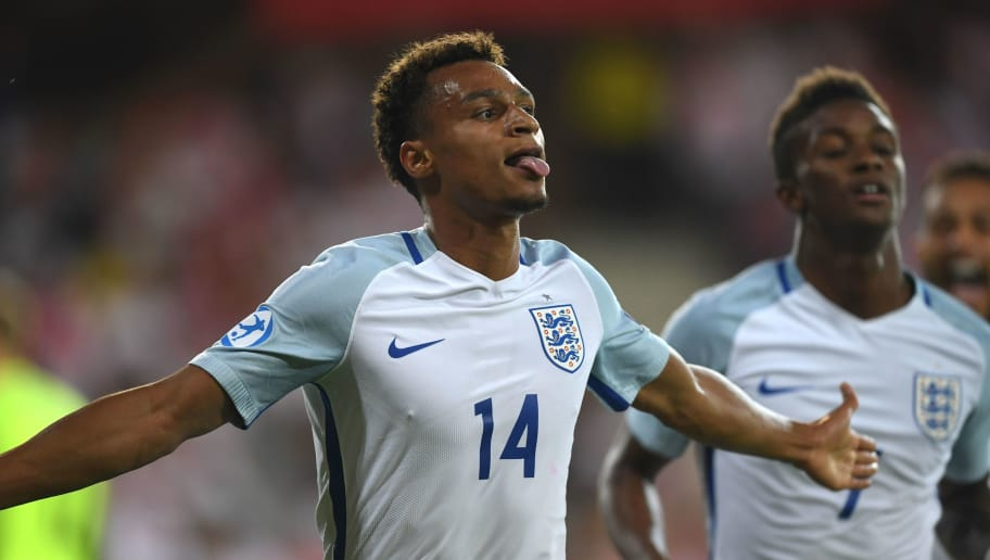 England's forward Jacob Murphy (L) celebrate scoring with his teammate midfielder Demarai Gray during the UEFA U-21 European Championship Group A football match England v Poland in Kielce, Poland on June 22, 2017. / AFP PHOTO / PIOTR NOWAK        (Photo credit should read PIOTR NOWAK/AFP/Getty Images)