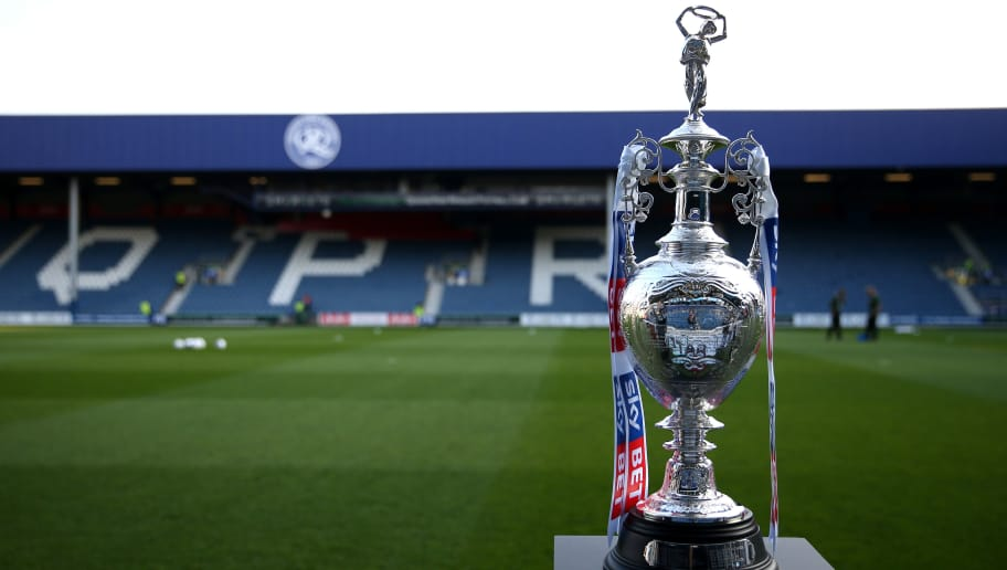 LONDON, ENGLAND - APRIL 07:  The Sky Bet Championship Trophy is pictured inside the stadium prior to the Sky Bet Championship match between Queens Park Rangers and Brighton & Hove Albion at Loftus Road on April 7, 2017 in London, England.  (Photo by Alex Pantling/Getty Images)