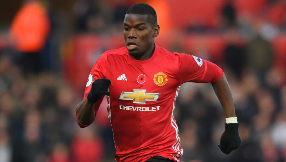 SWANSEA, WALES - NOVEMBER 06:  Manchester United player Paul Pogba in action during the Premier League match between Swansea City and Manchester United at Liberty Stadium on November 6, 2016 in Swansea, Wales.  (Photo by Stu Forster/Getty Images)