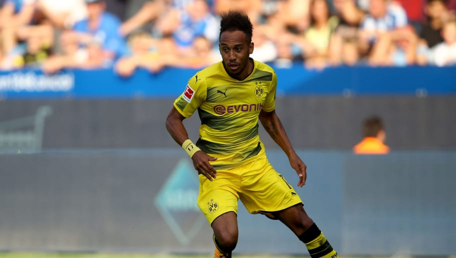 BOCHUM, GERMANY - JULY 22: Pierre-Emerick Aubameyang of Dortmund runs with the ball during the preseason friendly match between VfL Bochum and Borussia Dortmund at Vonovia Ruhrstadion on July 22, 2017 in Bochum, Germany.  (Photo by Christof Koepsel/Bongarts/Getty Images)