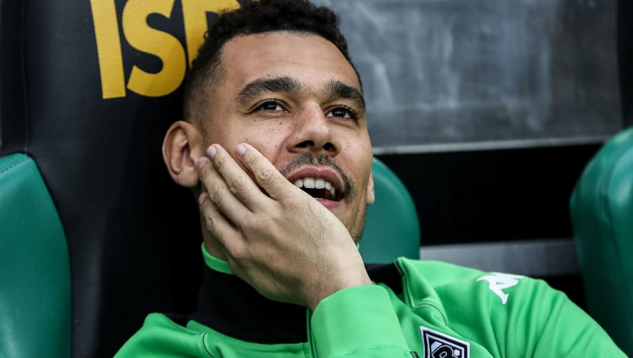 MOENCHENGLADBACH, GERMANY - MARCH 19: Timothee Kolodziejczak of Moenchengladbach sits on the bench prior the Bundesliga match between Borussia Moenchengladbach and Bayern Muenchen at Borussia-Park on March 19, 2017 in Moenchengladbach, Germany. (Photo by Maja Hitij/Bongarts/Getty Images)