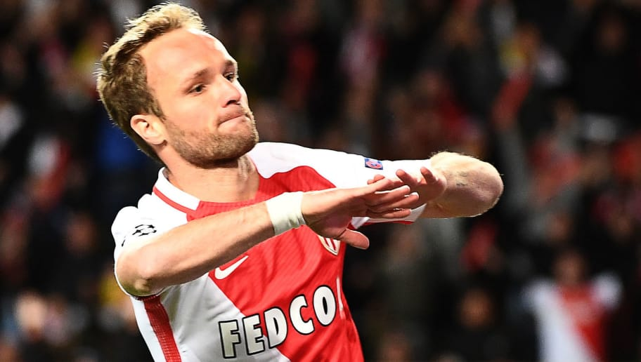 Monaco's French forward Valere Germain celebrates after he scored his teams's third goal during the UEFA Champions League 2nd leg quarter-final football match AS Monaco v BVB Borussia Dortmund on April 19, 2017 at the Louis II stadium in Monaco.  / AFP PHOTO / BORIS HORVAT        (Photo credit should read BORIS HORVAT/AFP/Getty Images)