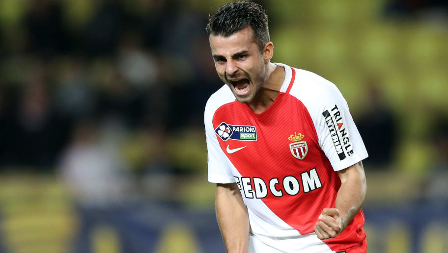 Monaco's French midfielder Jean Corentin celebrates after scoring a goal during a French League Cup football match between Monaco (ASM) and Rennes (SRFC) at the 'Louis II' stadium in Monaco on December 14, 2016. / AFP / VALERY HACHE        (Photo credit should read VALERY HACHE/AFP/Getty Images)