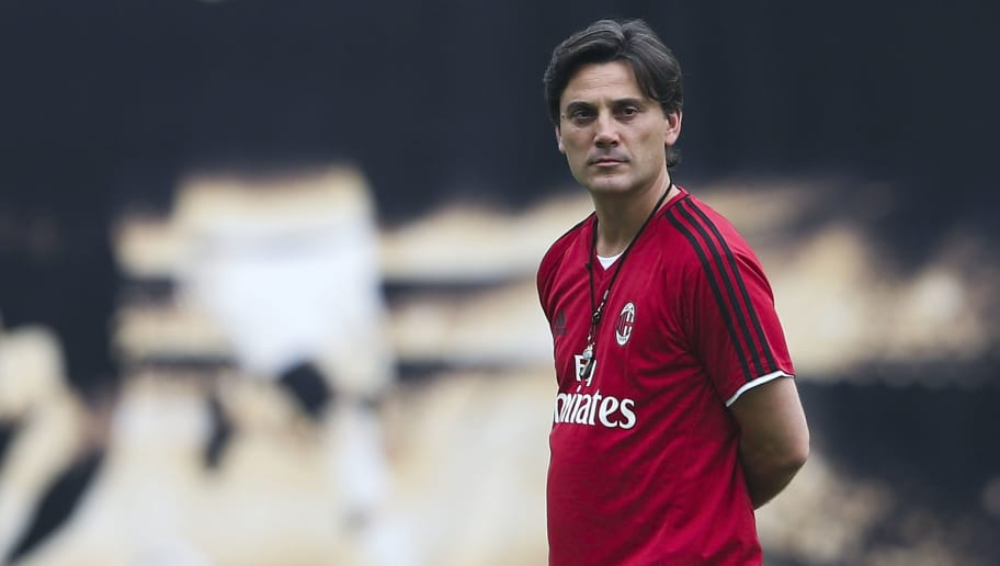 GUANGZHOU, CHINA - JULY 15:  Vincenzo Montella,coach of AC Milan looks on during the AC Milan training session ahead of the 2017 International Champions Cup football match between AC milan and Borussia Dortmund at University Town Sports Centre Stadium on July 15, 2017 in Guangzhou, China.  (Photo by Lintao Zhang/Getty Images)