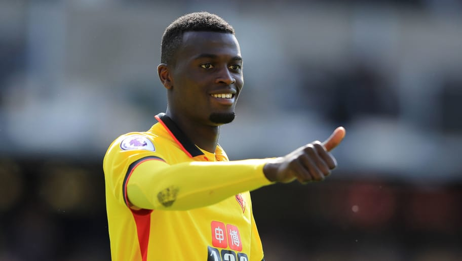 WATFORD, ENGLAND - MAY 21:  Mbaye Niang of Watford applaudes the crowd after the Premier League match between Watford and Manchester City at Vicarage Road on May 21, 2017 in Watford, England.  (Photo by Richard Heathcote/Getty Images)