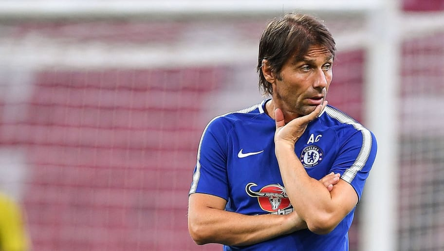 SINGAPORE - JULY 24: Chelsea FC team manager Antonio Conte looks during a Chelsea FC International Champions Cup training session at National Stadium on July 24, 2017 in Singapore.  (Photo by Thananuwat Srirasant/Getty Images  for ICC)