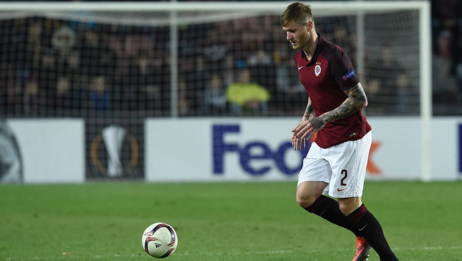 Ondrej Mazuch of AC Sparta Praha is seen in action during an UEFA Europa League round 32 football match  AC Sparta Praha vs   FC Rostov on February 23, 2017 in Prague.   / AFP / Michal Cizek        (Photo credit should read MICHAL CIZEK/AFP/Getty Images)