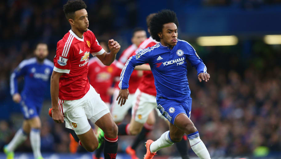 LONDON, ENGLAND - FEBRUARY 07: Cameron Borthwick-Jackson of Manchester United closes down Willian of Chelsea  during the Barclays Premier League match between Chelsea and Manchester United at Stamford Bridge on February 7, 2016 in London, England.  (Photo by Paul Gilham/Getty Images)