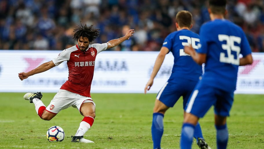 BEIJING, CHINA - JULY 22:  Mohamed Elneny of Arsenal reacts during the Pre-Season Friendly match between Arsenal FC and Chelsea FC at Birds Nest on July 22, 2017 in Beijing, China.  (Photo by Yifan Ding/Getty Images )