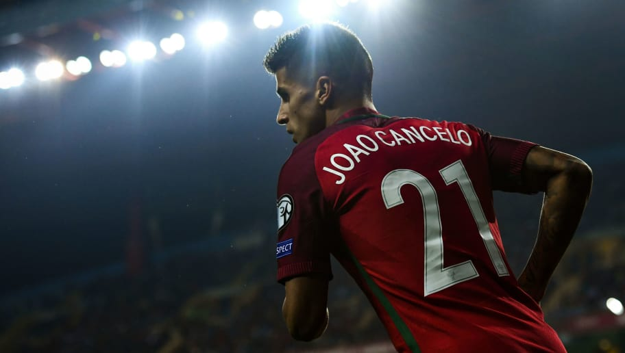 AVEIRO, PORTUGAL - OCTOBER 07:  Joao Cancelo of Portugal looks on during the FIFA 2018 World Cup Qualifier between Portugal and Andorra at Estadio Municipal de Aveiro on October 7, 2016 in Aveiro, Portugal.  (Photo by David Ramos/Getty Images)