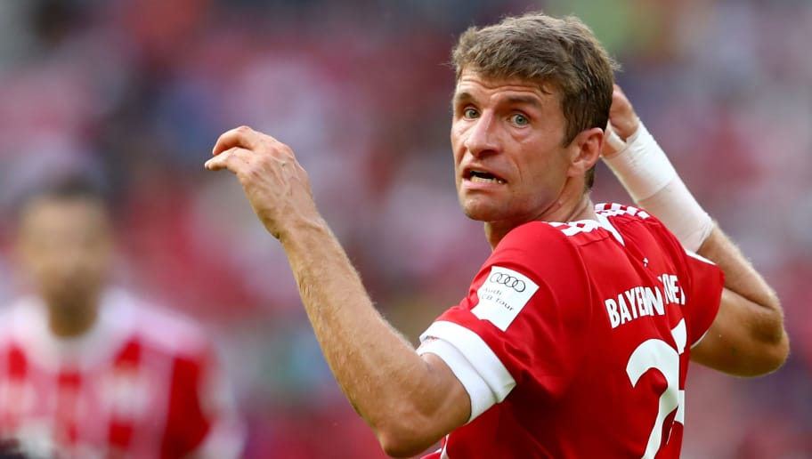 SHENZHEN, CHINA - JULY 22:  Thomas Mueller of Muenchen reacts during the International Champions Cup Shenzen 2017 match between Bayern Muenchen and AC Milan at  on July 22, 2017 in Shenzhen, China.  (Photo by Alexander Hassenstein/Bongarts/Getty Images)