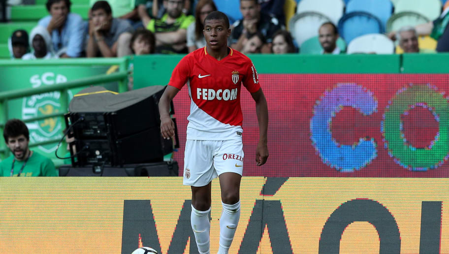LISBON, PORTUGAL - JULY 22: Monaco forward Kylian Mbappe from France during the Friendly match between Sporting CP and AS Monaco at Estadio Jose Alvalade on July 22, 2017 in Lisbon, Portugal.  (Photo by Carlos Rodrigues/Getty Images)
