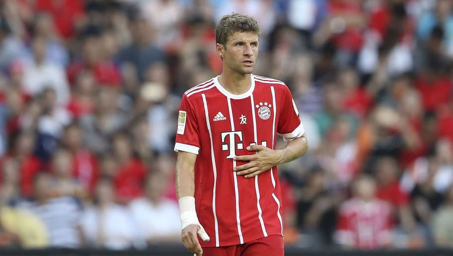 SHENZHEN, CHINA - JULY 22:  Thomas Mueller of Muenchen looks on during the 2017 International Champions Cup China  match between FC Bayern and AC Milan at Universiade Sports Centre Stadium on July 22, 2017 in Shenzhen, China.  (Photo by Lintao Zhang/Getty Images)