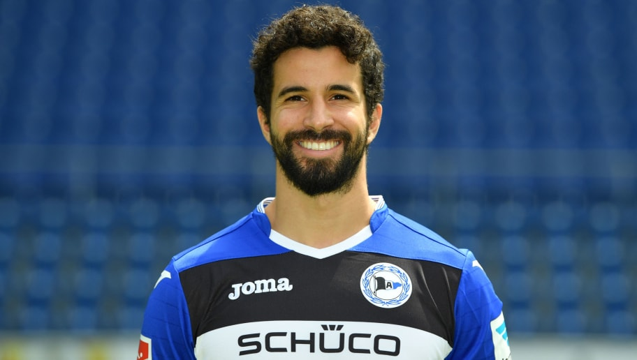 BIELEFELD, GERMANY - JULY 04:  Nils Teixeira poses during the Second Bundesliga team presentation of Arminia Bielefeld at Schueco Arena on July 4, 2017 in Bielefeld, Germany.  (Photo by Thomas Starke/Bongarts/Getty Images)