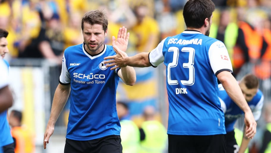 BIELEFELD, GERMANY - MAY 14: Julian Boerner of Bielefeld gesticulated during the Second Bundesliga match between DSC Arminia Bielefeld and Eintracht Braunschweig at Schueco Arena on May 14, 2017 in Bielefeld, Germany.  (Photo by Oliver Hardt/Bongarts/Getty Images)
