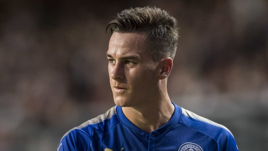 HONG KONG, HONG KONG - JULY 19: Leicester City FC forward Tom Lawrence looks on during the Premier League Asia Trophy match between Leicester City FC and West Bromwich Albion at Hong Kong Stadium on July 19, 2017 in Hong Kong, Hong Kong. (Photo by Victor Fraile/Getty Images)