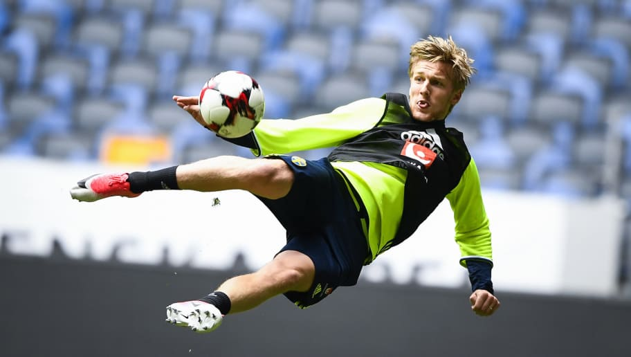 Sweden's midfielder Emil Forsberg attends a training session of the Swedish national football team on the eve of the WC 2018 football qualification match between Sweden and France in Solna, on June 8, 2017.  / AFP PHOTO / Jonathan NACKSTRAND        (Photo credit should read JONATHAN NACKSTRAND/AFP/Getty Images)