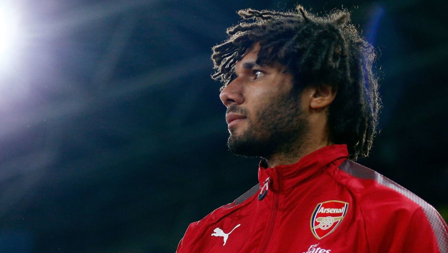 SYDNEY, AUSTRALIA - JULY 15:  Mohamed Elneny of Arsenal enters the field of play during the match between the Western Sydney Wanderers and Arsenal FC at ANZ Stadium on July 15, 2017 in Sydney, Australia.  (Photo by Zak Kaczmarek/Getty Images)