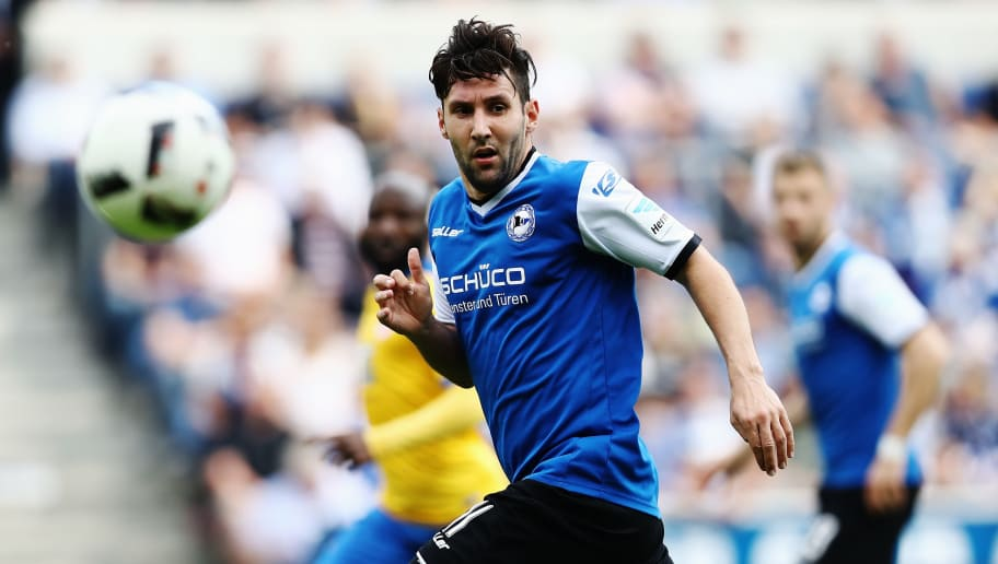 BIELEFELD, GERMANY - MAY 14:  Stephan Salger of Bielefeld in action during the Second Bundesliga match between DSC Arminia Bielefeld and Eintracht Braunschweig at Schueco Arena on May 14, 2017 in Bielefeld, Germany.  (Photo by Oliver Hardt/Bongarts/Getty Images)