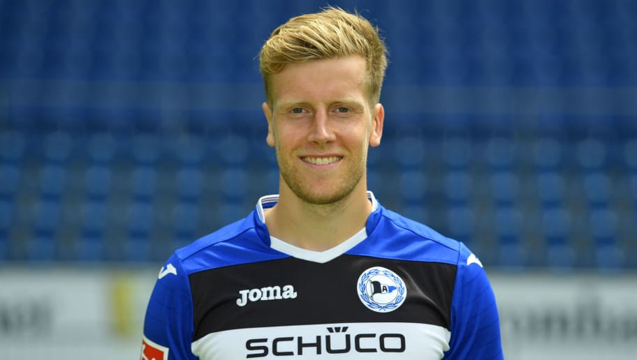 BIELEFELD, GERMANY - JULY 04:  Brian Behrendt poses during the Second Bundesliga team presentation of Arminia Bielefeld at Schueco Arena on July 4, 2017 in Bielefeld, Germany.  (Photo by Thomas Starke/Bongarts/Getty Images)
