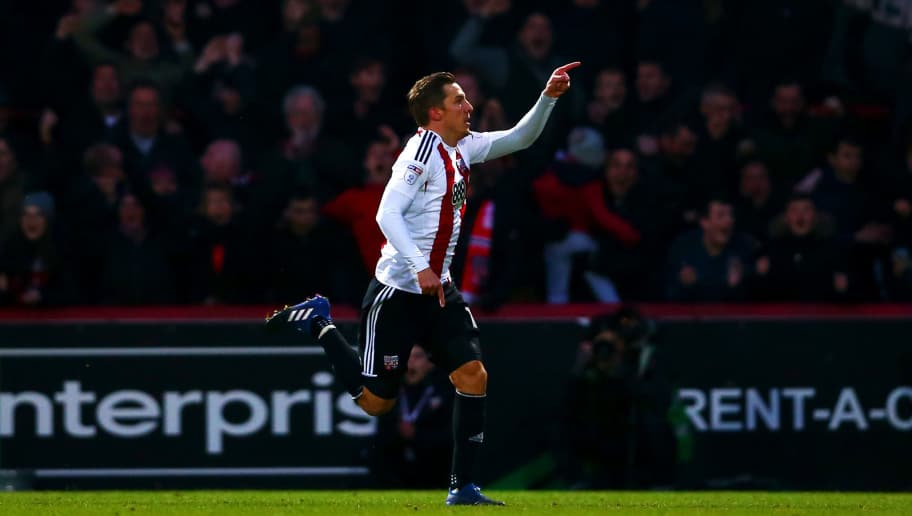 BRENTFORD, ENGLAND - FEBRUARY 05:  Konstantin Kerschbaumer of Brentford celebrates after scoring his team's third goal during the Sky Bet Championship match between Brentford and Brighton & Hove Albion at Griffin Park on February 5, 2017 in Brentford, England.  (Photo by Dan Istitene/Getty Images)