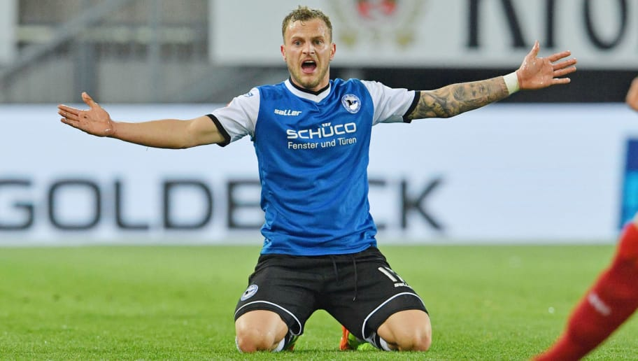 BIELEFELD, GERMANY - APRIL 17: Christoph Hemlein of Bielefeld reacts during the Second Bundesliga match between DSC Arminia Bielefeld and VfB Stuttgart at Schueco Arena on April 17, 2017 in Bielefeld, Germany.  (Photo by Thomas Starke/Bongarts/Getty Images)