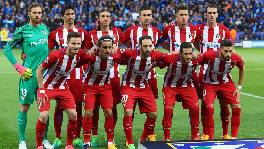 LEICESTER, ENGLAND - APRIL 18: The Atletico Madrid team pose for a team photo prior to the UEFA Champions League Quarter Final second leg match between Leicester City and Club Atletico de Madrid at The King Power Stadium on April 18, 2017 in Leicester, United Kingdom.  (Photo by Clive Rose/Getty Images)