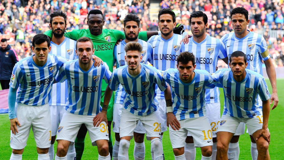 BARCELONA, SPAIN - FEBRUARY 21:  Malaga CF pose for a team picture prior to the La Liga match between FC Barcelona and Malaga CF at Camp Nou on February 21, 2015 in Barcelona, Spain.  (Photo by David Ramos/Getty Images)