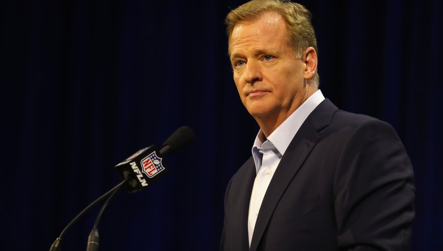 HOUSTON, TX - FEBRUARY 01:  NFL Commissioner Roger Goodell speaks with the media during a press conference for Super Bowl 51 at the George R. Brown Convention Center on February 1, 2017 in Houston, Texas.  (Photo by Tim Bradbury/Getty Images)